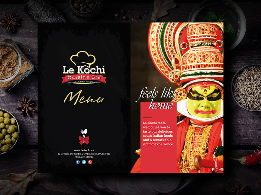 Restaurant menu design by Kerala freelance designer