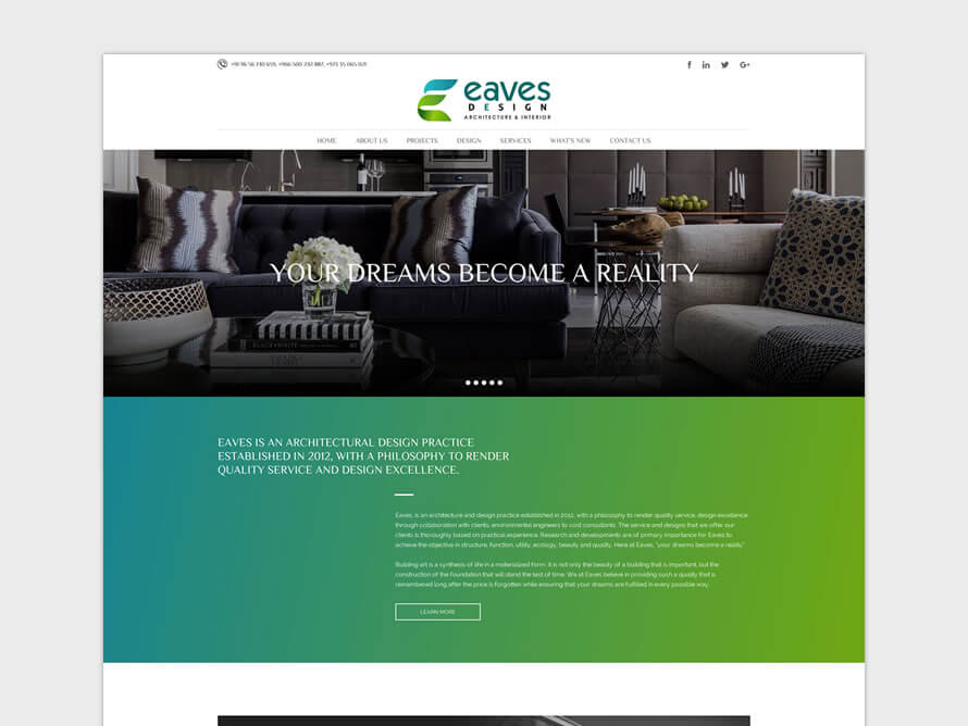 Kerala freelance web design for Eaves Architect