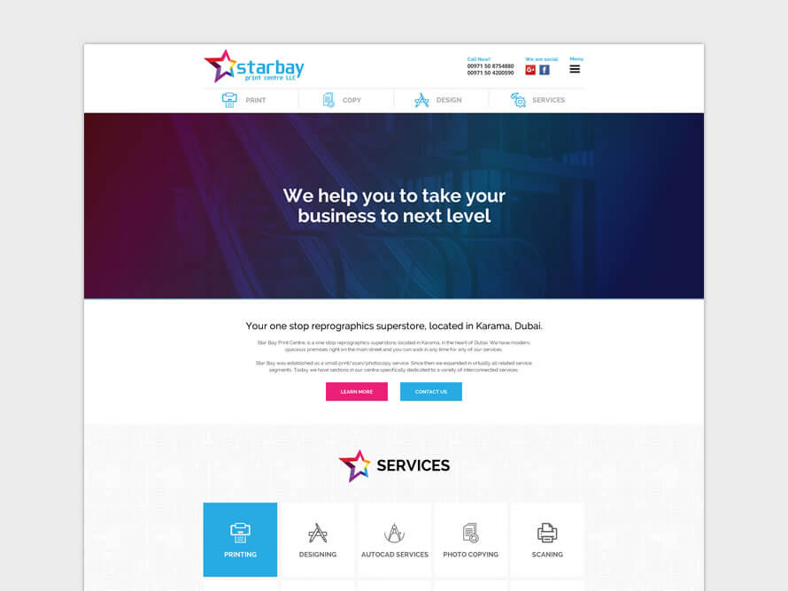 Star Bay Print Centre responsive website by Kerala freelance web designer