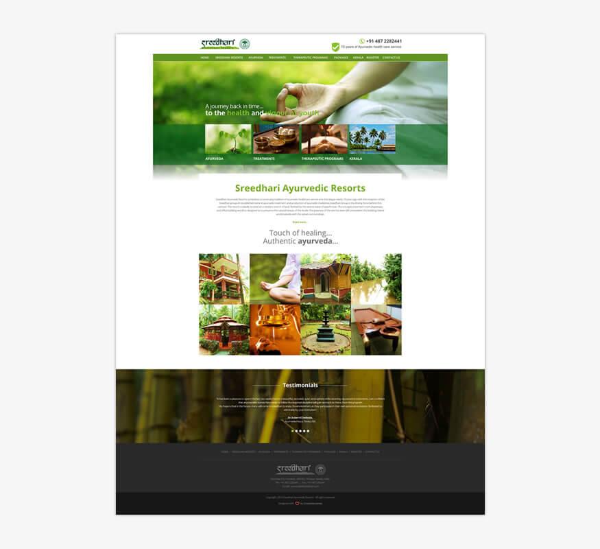 Kerala freelance web design for Sreedhari Ayurvedic Resorts