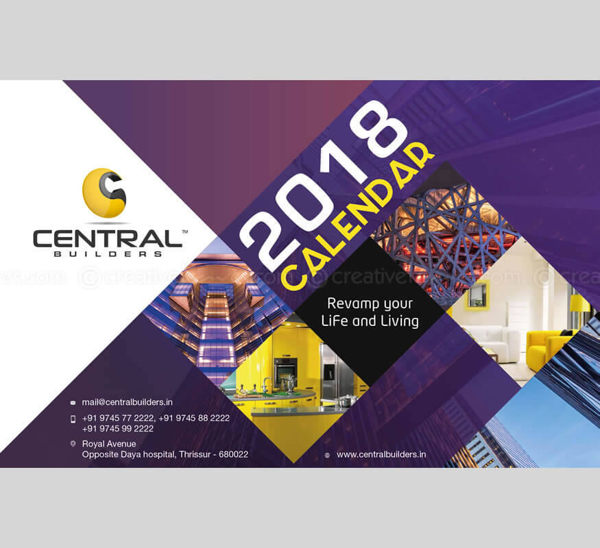 Kerala freelance desktop calendar design for Central Builders