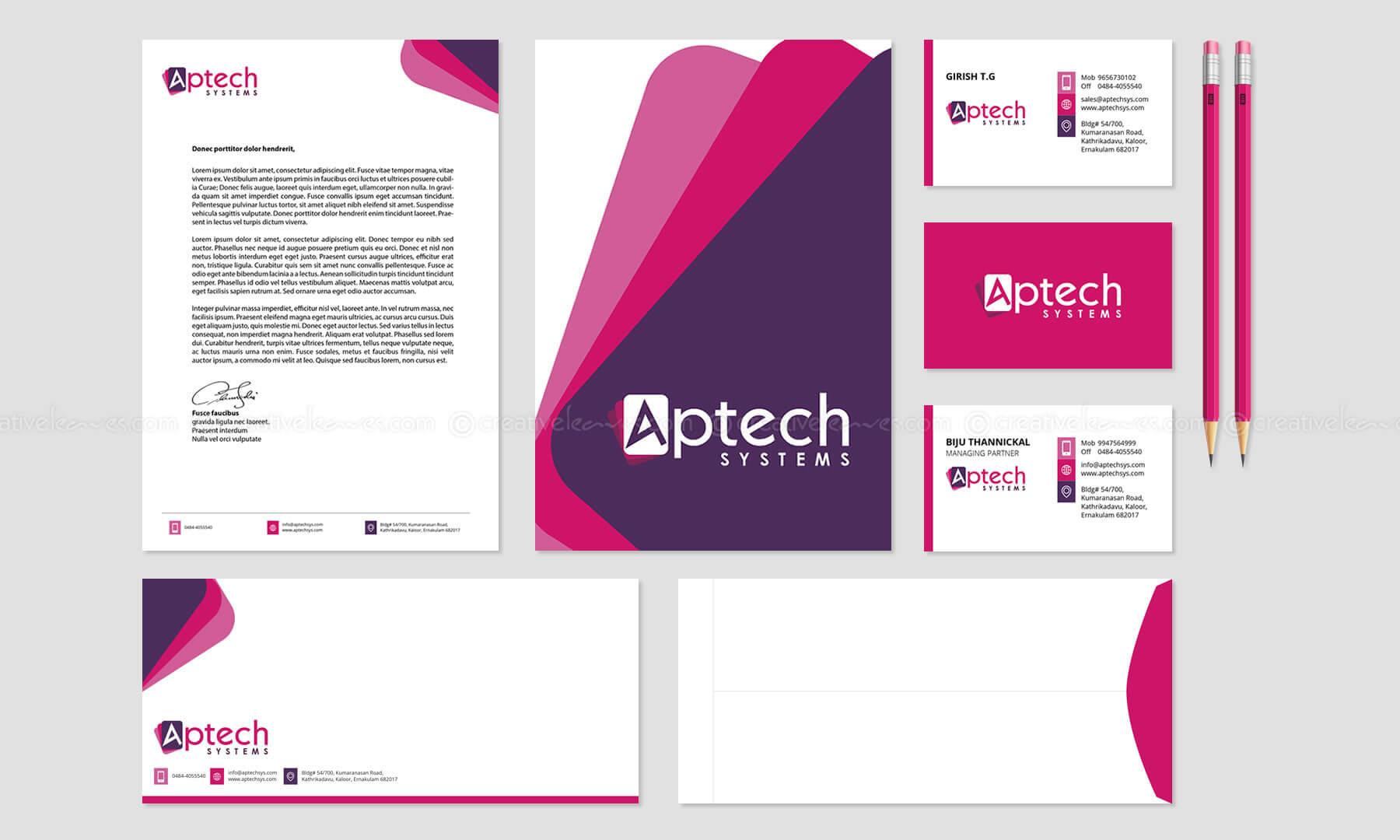 Kerala freelance branding designer for Aptech Systems Kochi