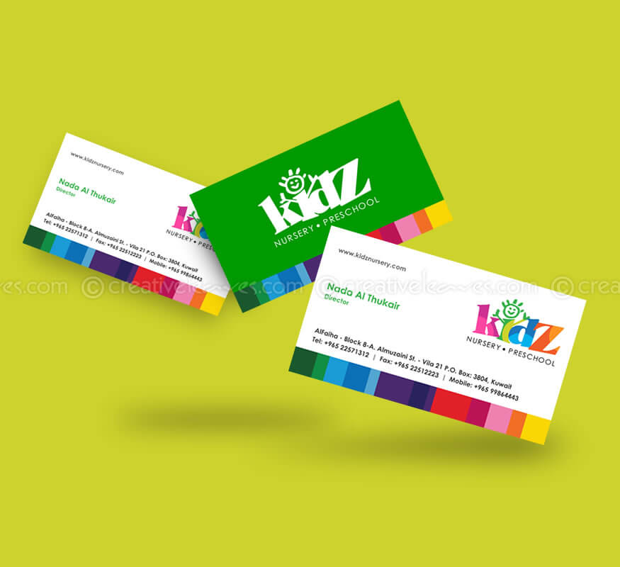 Kerala freelance business card design for Nursery Preschool