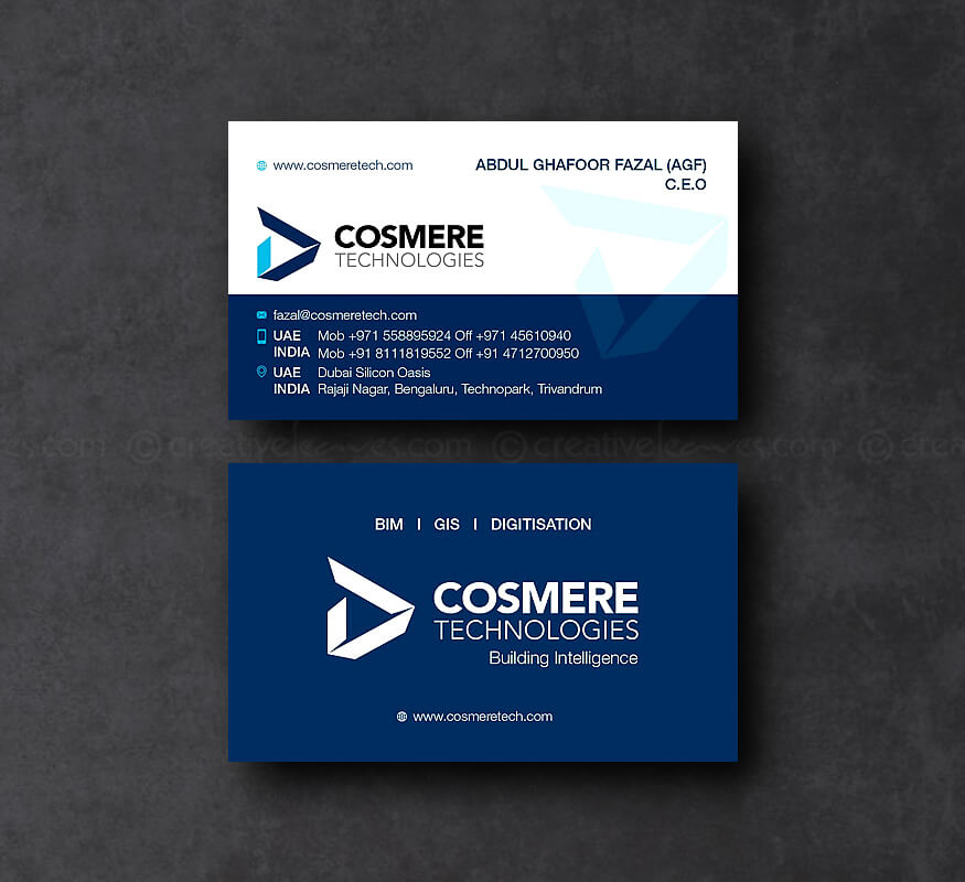 Kerala freelance branding design for Cosmere Technologies