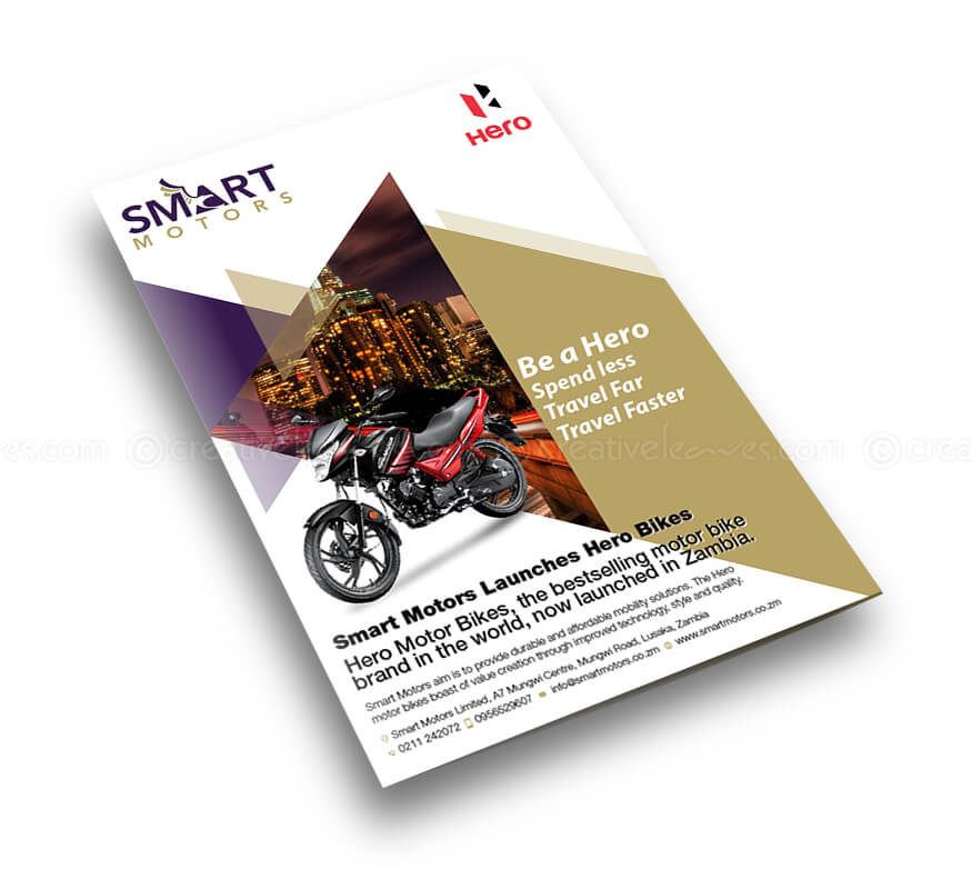 Kerala freelance bi-fold brochure design for Smart Motors Zambia