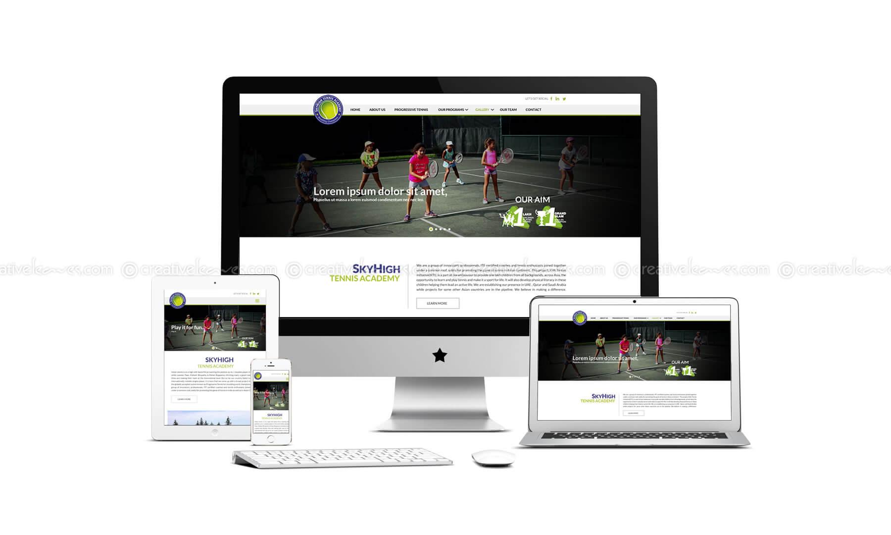 Kerala freelance web designer for SkyHigh Tennis Academy