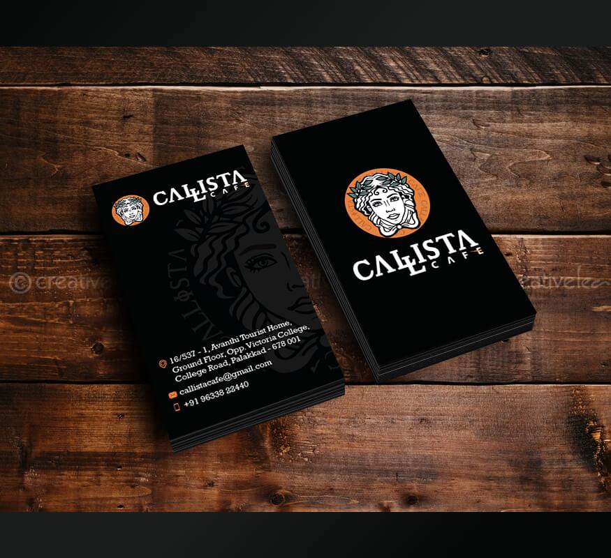 Kerala freelance business card design for Callista Cafe, Palakkad