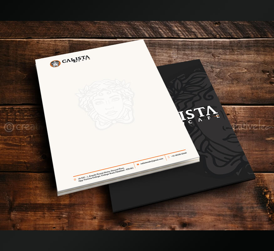 Kerala freelance letterhead design for Callista Cafe, Palakkad