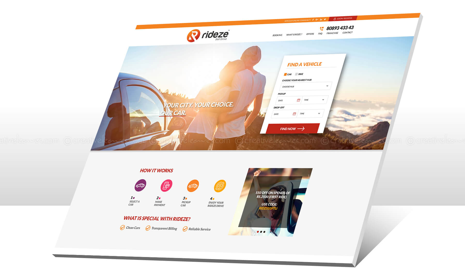 Kerala freelance corporate website design for Rideze Car Rental
