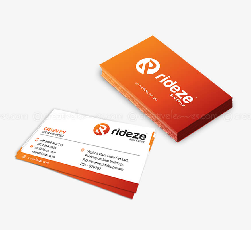 Kerala freelance business card design for Rideze Car Rental