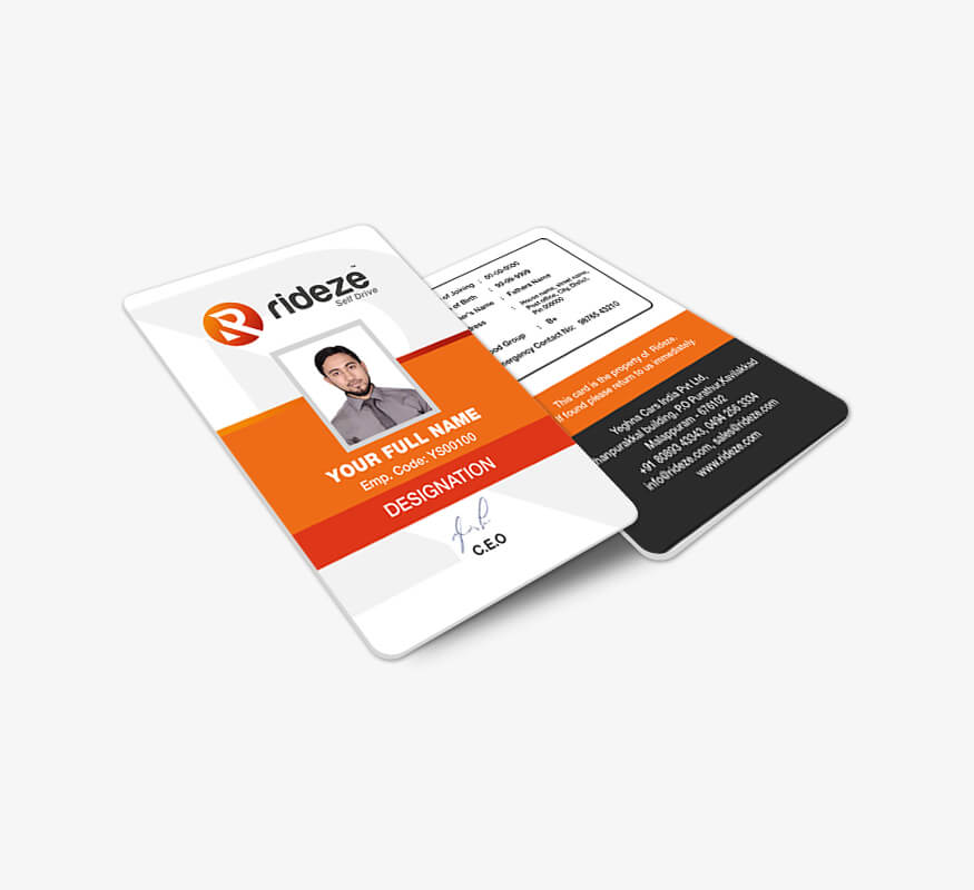 Kerala freelance ID card design for Rideze Car Rental