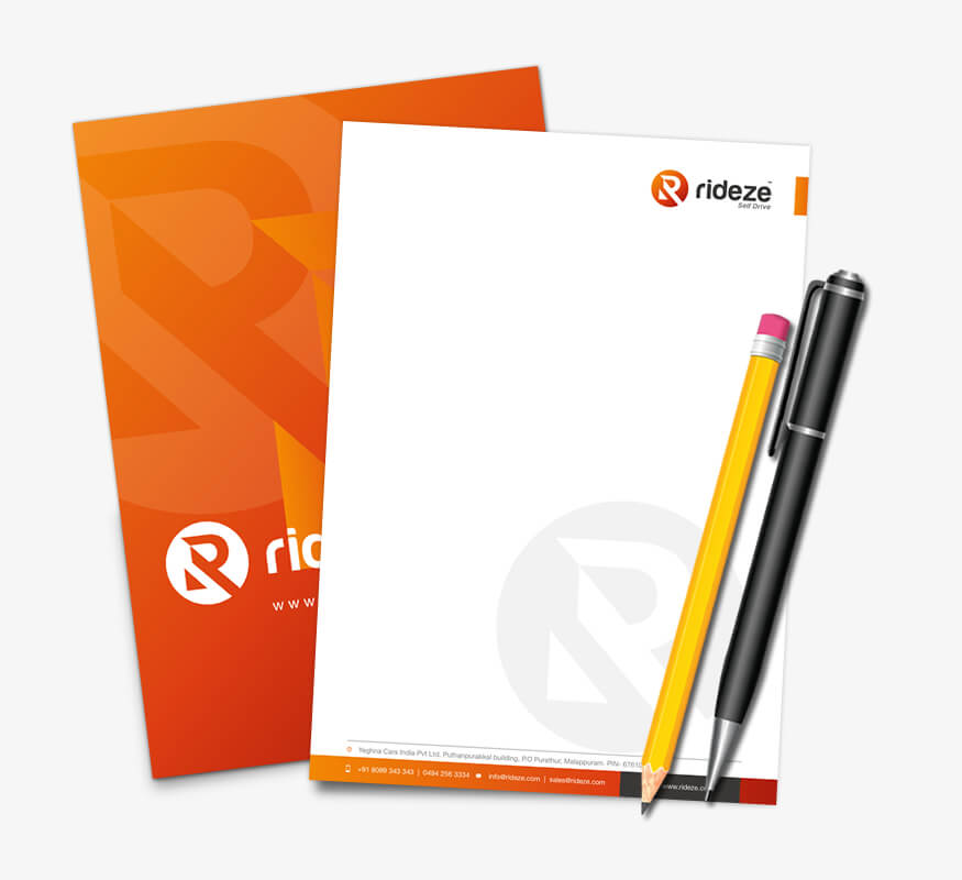 Kerala freelance letterhead design for Rideze Car Rental