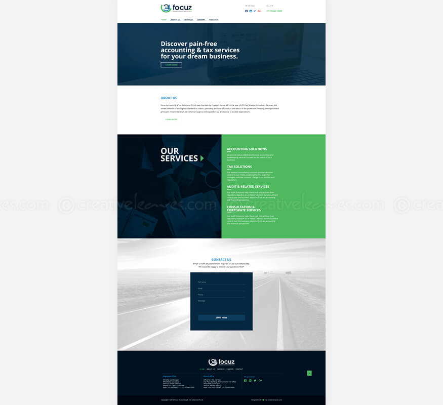 Freelance wordpress website for Focuz Accounting & Tax Solutions (P) Ltd