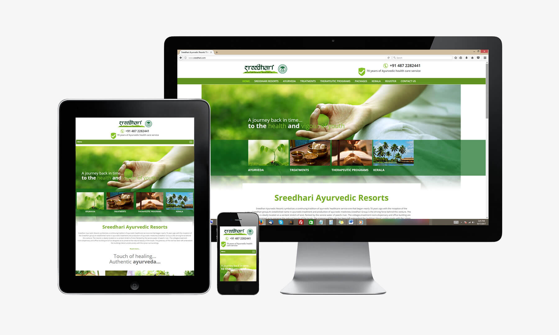 Kerala freelance web design for Sreedhari Ayurvedic Resorts