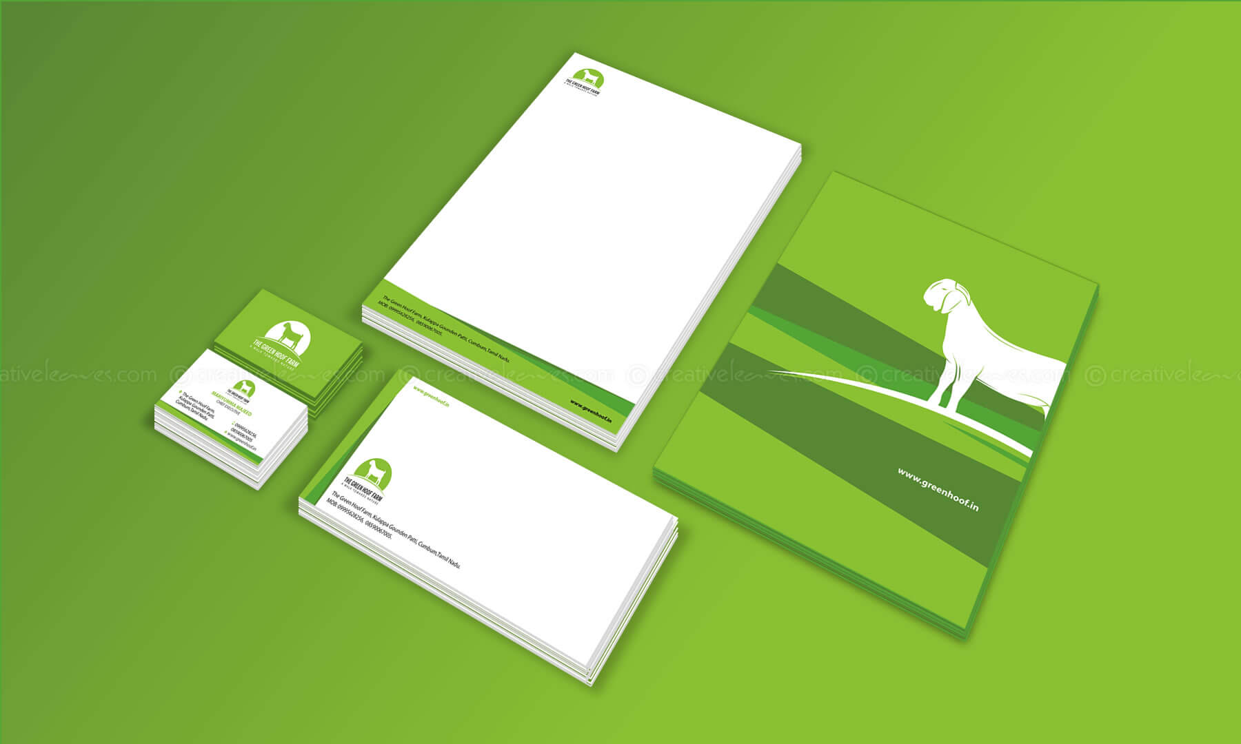 The Green Hoof Farm branding designed by Kerala freelance logo designer