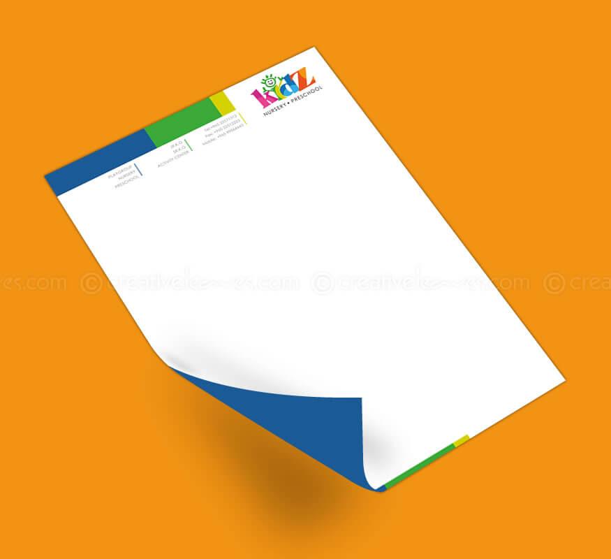 Kerala freelance letterhead design for Nursery Preschool